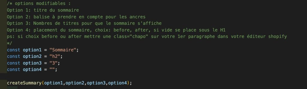 code création sommaire shopify